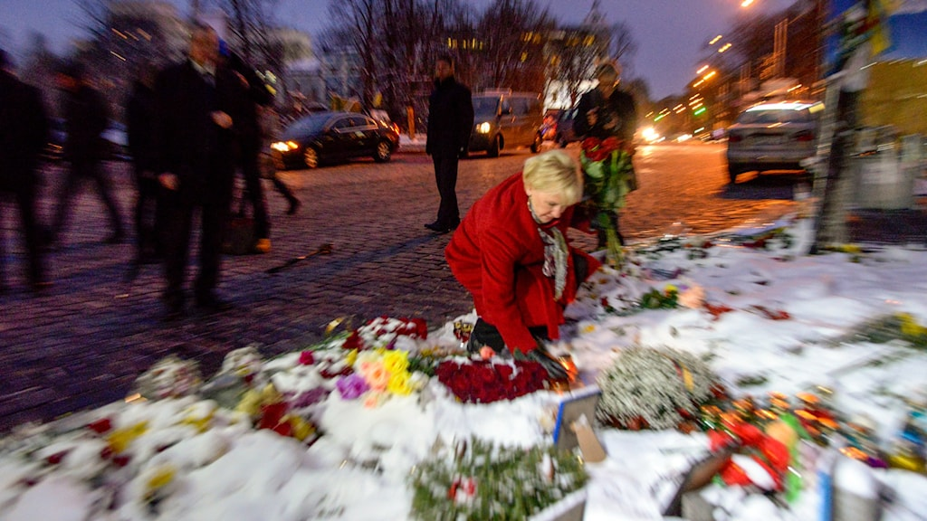 "Sweden's Foreign Minister laying flowers at a memorial on ""Maidan"". Photo: Gustav Sjöholm / TT"