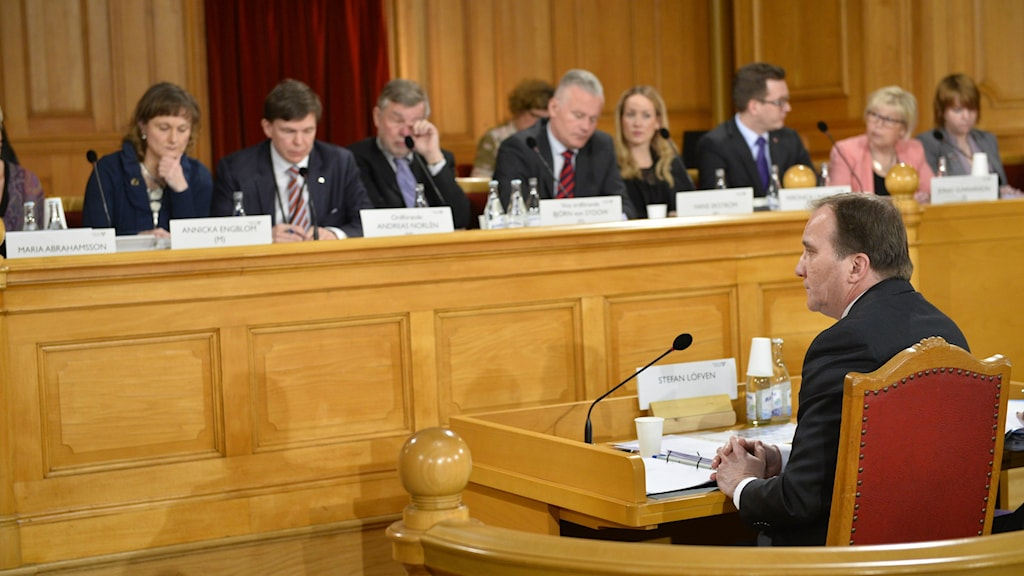 Stefan Löfven testifies before the Committee on the Constitution, Photo: Henrik Montgomery/TT