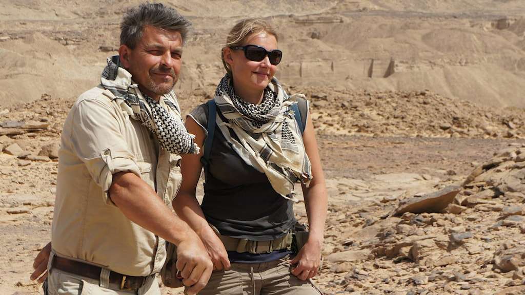 Mission Director Maria Nilsson and Assistant Director John Ward at Gebel el Silsila, Photo: private