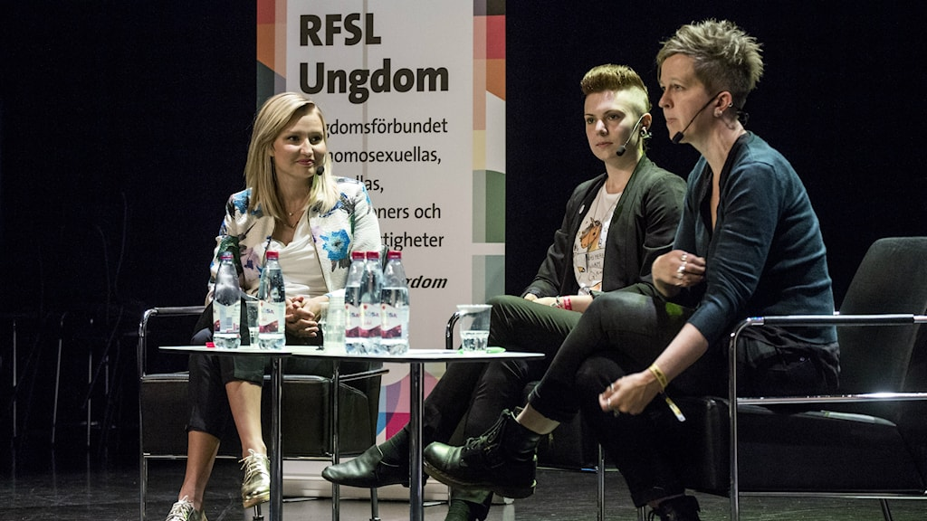 Ebba Busch Thor interviewed by Westerlund and Gisela Janis of RFSL at Stockholm Pride 2015, Photo: Christine Olsson/TT