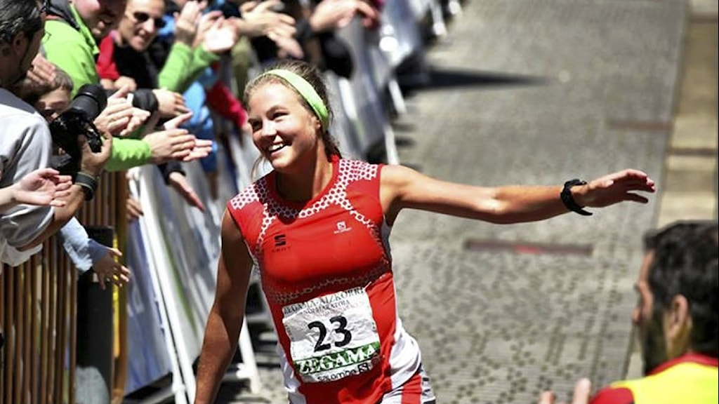 Emelie Forsberg finishing up a race in Zegama, Spain in 2013. File photo: Droz-photo.
