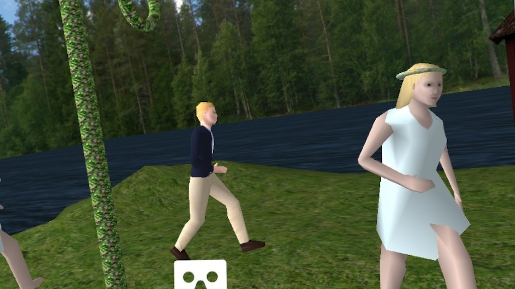 "Players can simulate having several ""Swedish"" experiences, including dancing around the maypole on Midsummer. Screenshot of Sweden Simulator."