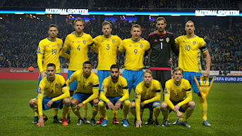 The Swedish national football team at the match against Denmark in November 2015, where Sweden qualified to Euro 2016.