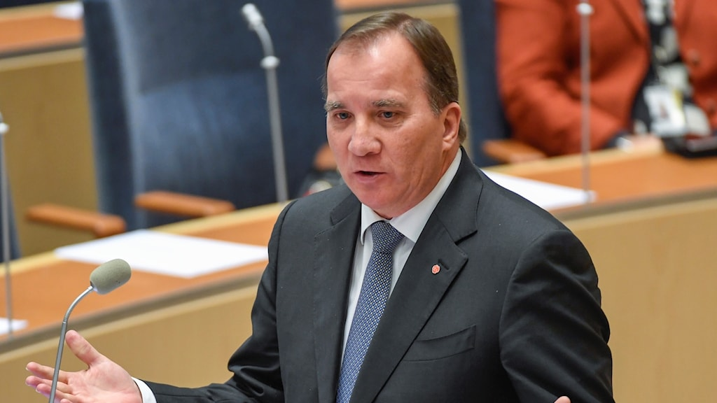 Stefan Löfven speaking in Parliament
