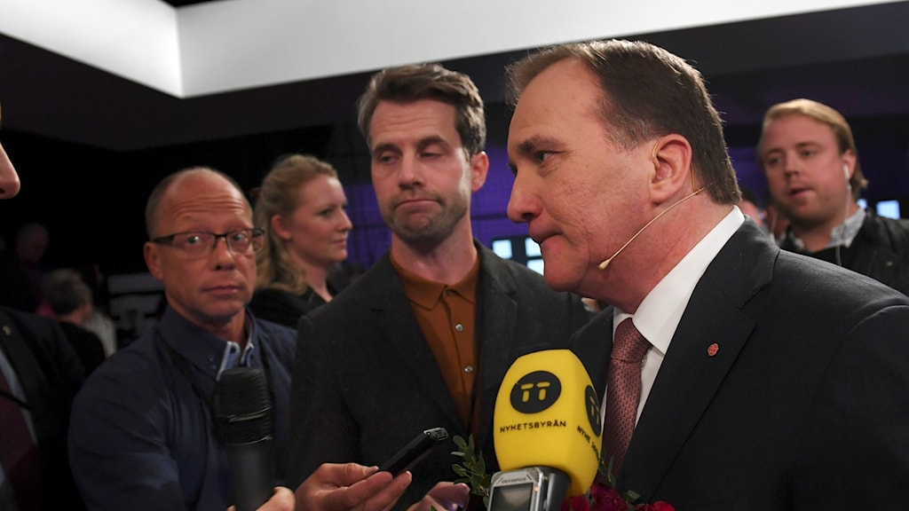 Stefan Löfven after the televised debate.