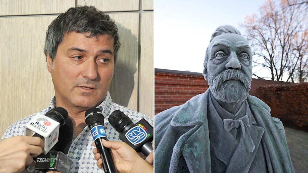 Dr. Paolo Macchiarini and a bust of scientist Alfred Nobel.