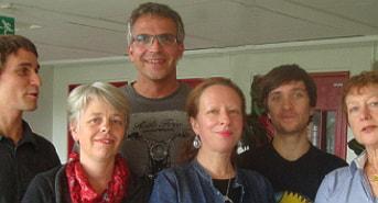 Radio Schweden, die deutschsprachige Redaktion des Schwedischen Rundfunks besteht aus Hansjörg Kissel, Luise Steinberger, Dieter Weiand, Anne Rentzsch, Frank Luthardt, Sybille Neveling (Foto: Greta Grandin / Sveriges Radio)