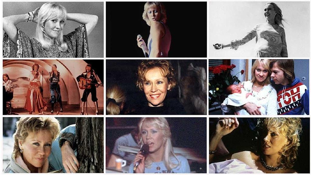 Agnetha Fältskog. ABBA-Agnetha Fältskog. Bilden är ett kollage av de bilder som följer i bildserien. Foto: Scanpix och SVT/SR-bildarkiv. Kollage: Ronnie Ritterland / Sveriges Radio