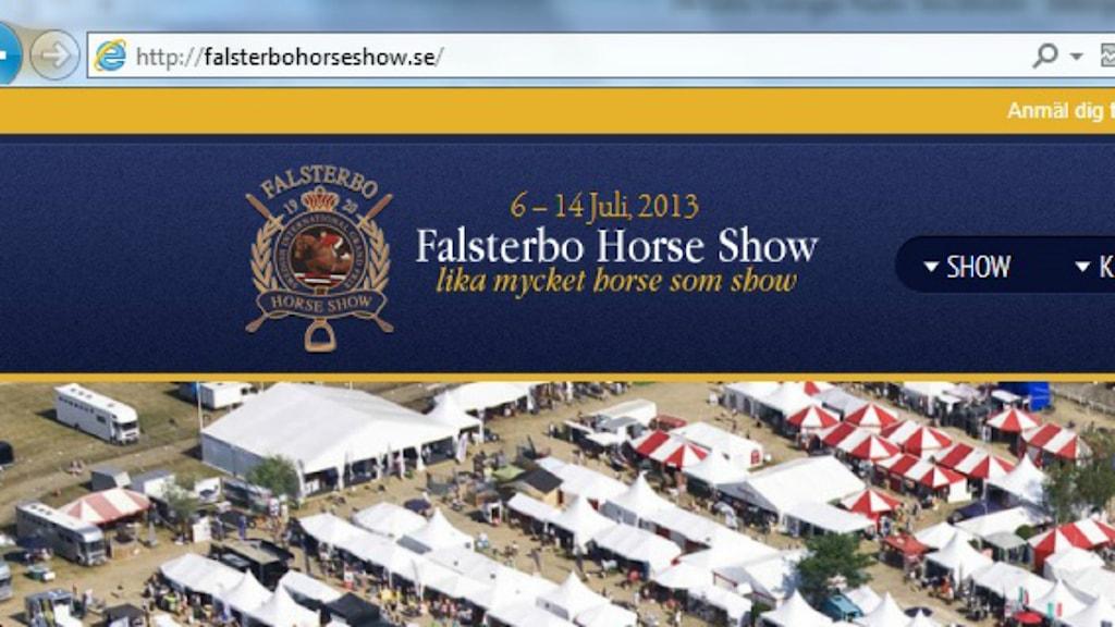 Skärmdump från Falsterbo horse showsida.