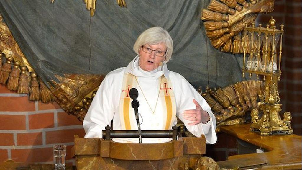 Ärkebiskop Antje Jackelén predikade i Storkyrkan inför riksdagens öppnande idag. Foto: TT