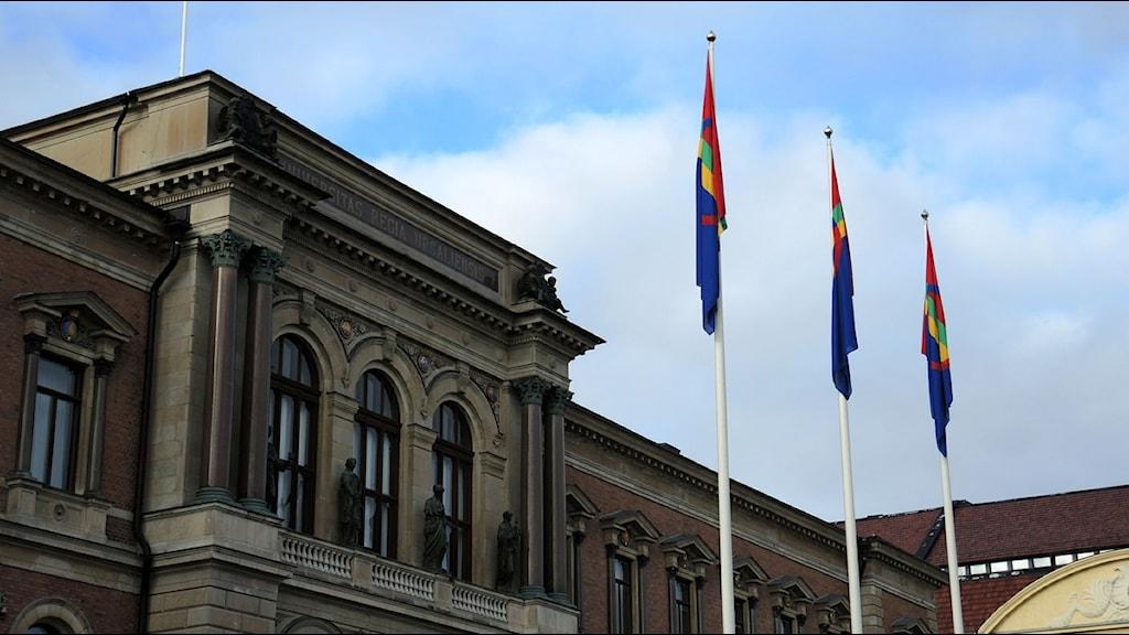Samiska flaggor vid Uppsala Universitet. Foto: Olle Kejonen / SR Sameradion