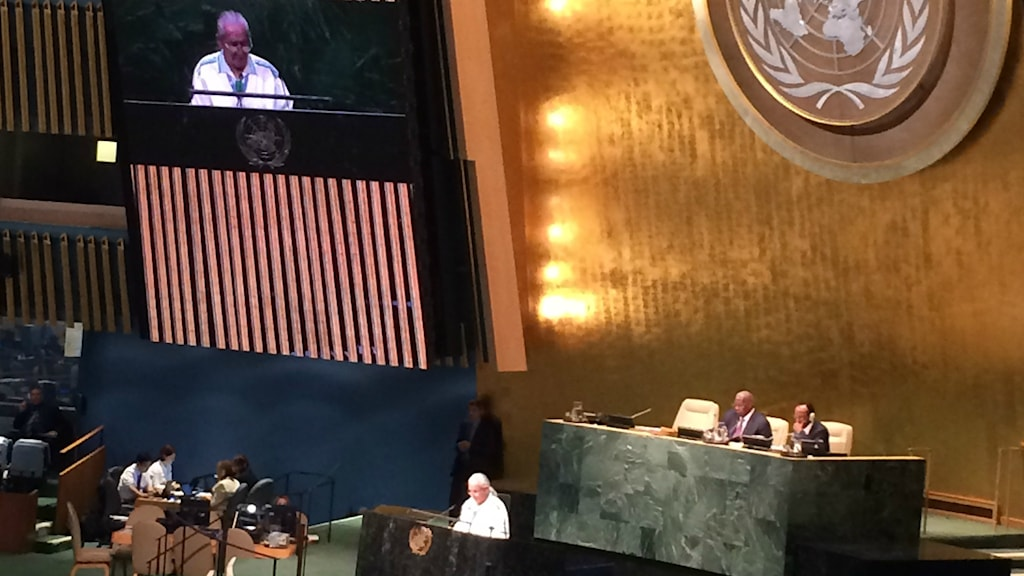 Chief Oren Lyons talade på Världskonferensen för urfolk i FN. Foto: Anna Sunna/Sveriges Radio Sameradion.