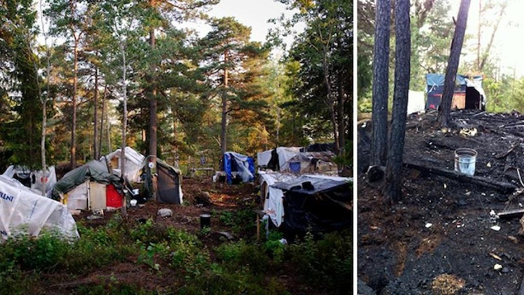 مخيم للمتسولينن الرومر في هيغدالن، جنوب ستوكهولم، عدسة الاذاعة السويدية