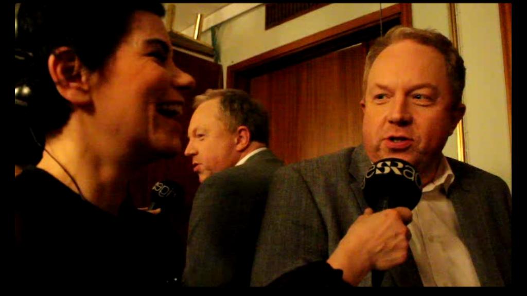 Carolina Norén och Anders Jansson inför finalen i Melodifestivalen 2014. Foto: Ronnie Ritterland / Sveriges Radio