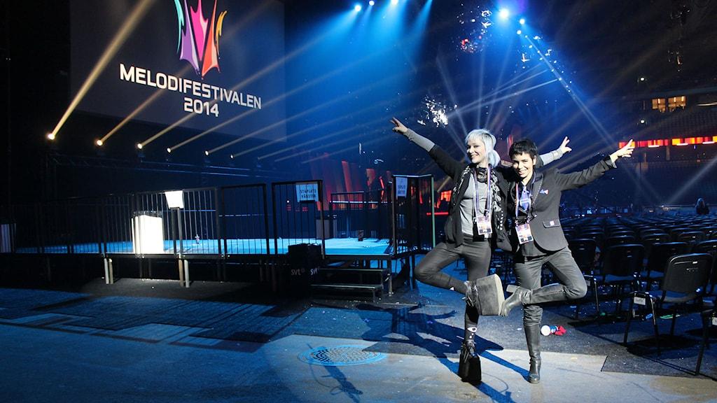Ronnie Ritterland och Carolina Norén på Melodifestivalen i Friends Arena 2014. Foto: Mats MEK Ekman