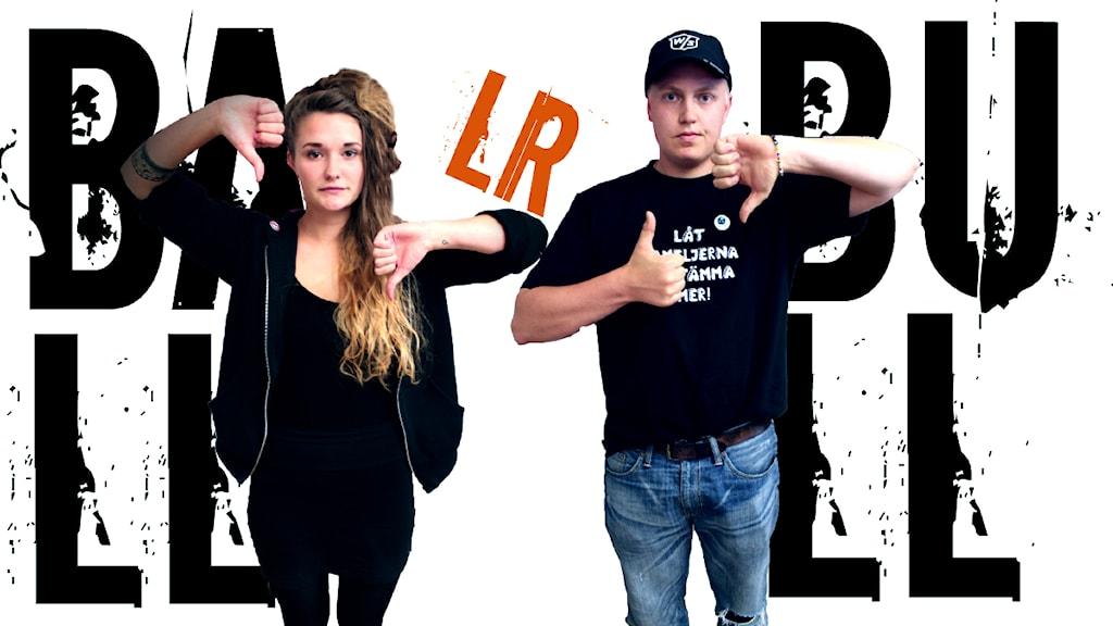 """Vilma Bolding från Ung vänster Skåne och Mattias Grängzell från KD Malmö kör """"Ball eller bull"""". Foto: Stephanie Londéz/SR"""