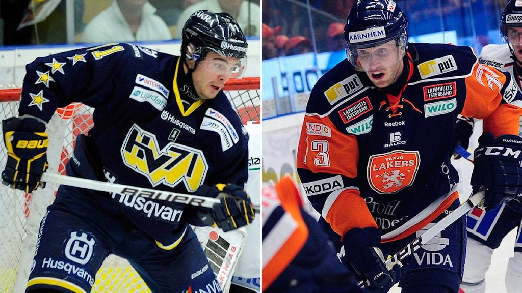 2011-10-07 HV71:s Jesse Joensuu och Växjös Mike Iggulden. Foto: Scanpix