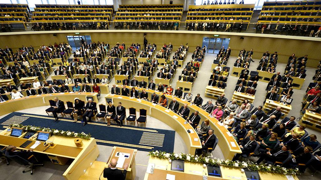 Vy över plenissalen under riksmötets öppnande. Foto: Henrik Montgomery/TT.
