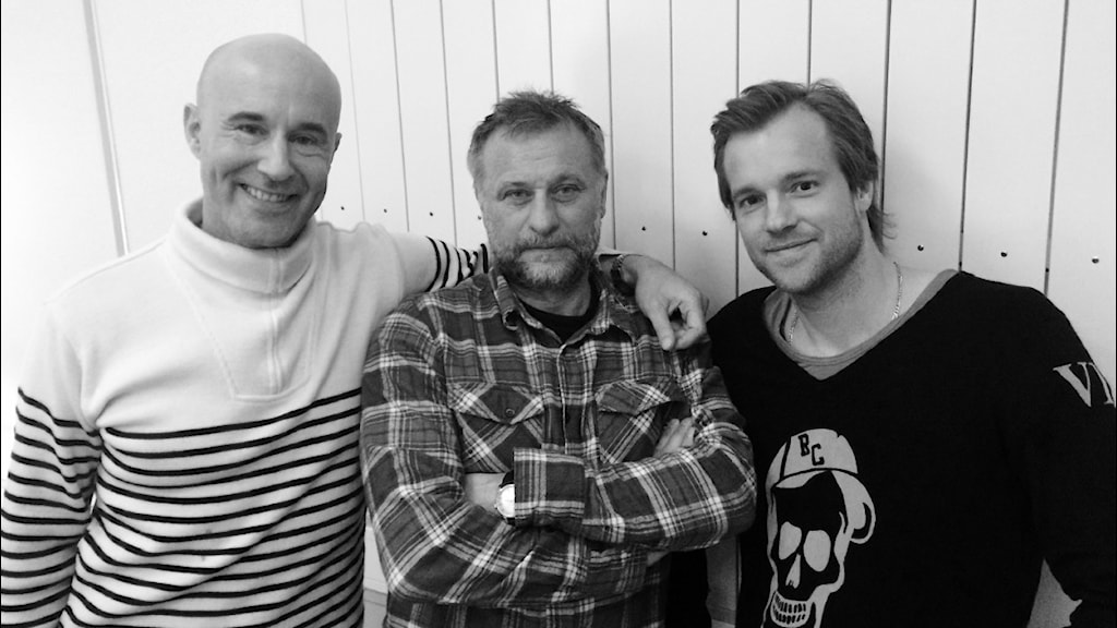 "Mark Levengood, Michael Nyqvist och Henrik Johnsson i podden Men Herre Gud"". Foto: Sveriges Radio"
