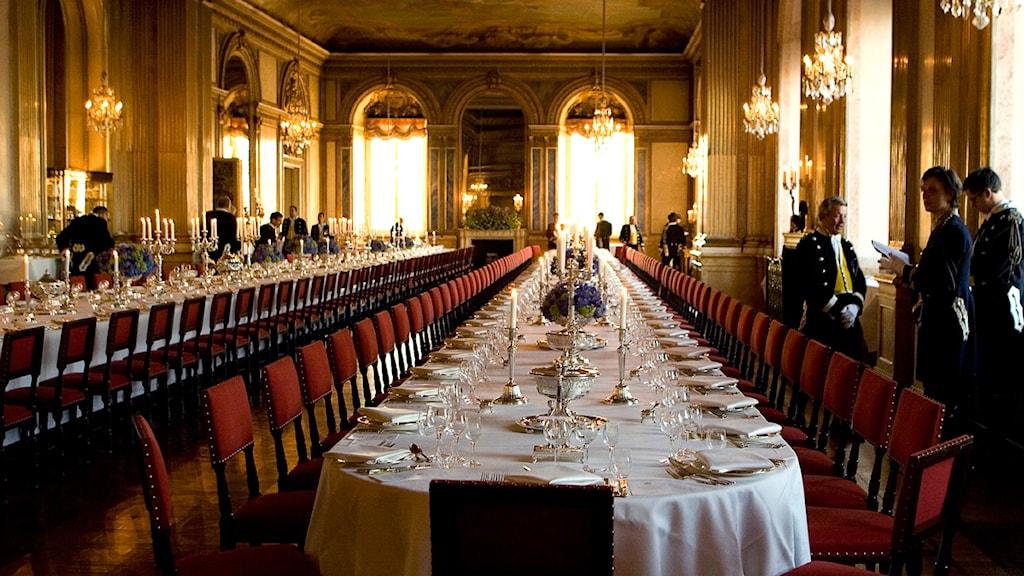 Middagsbordet dukat i Vita Havet på Stockholms Slott.Foto: Anders Wiklund/Scanpix