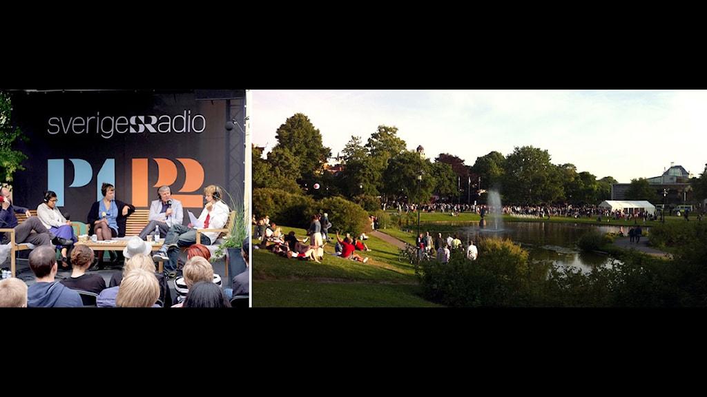 Sändning från Sveriges Radios scen. Människor i gräset vid vattnet i Almedalen. Foto: Johan Ljungström/Helena Bremberg/Sveriges Radio.
