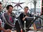 Christopher Mikkelsen, Mads Mikkelsen, Henrik Torehammar och David Mikkelsen. Foto: Stina Ericsson /SR