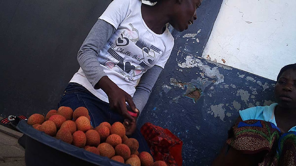 Säljer litchi på gatan i Maputo. Foto: Maria Sjöqvist/Sveriges Radio.