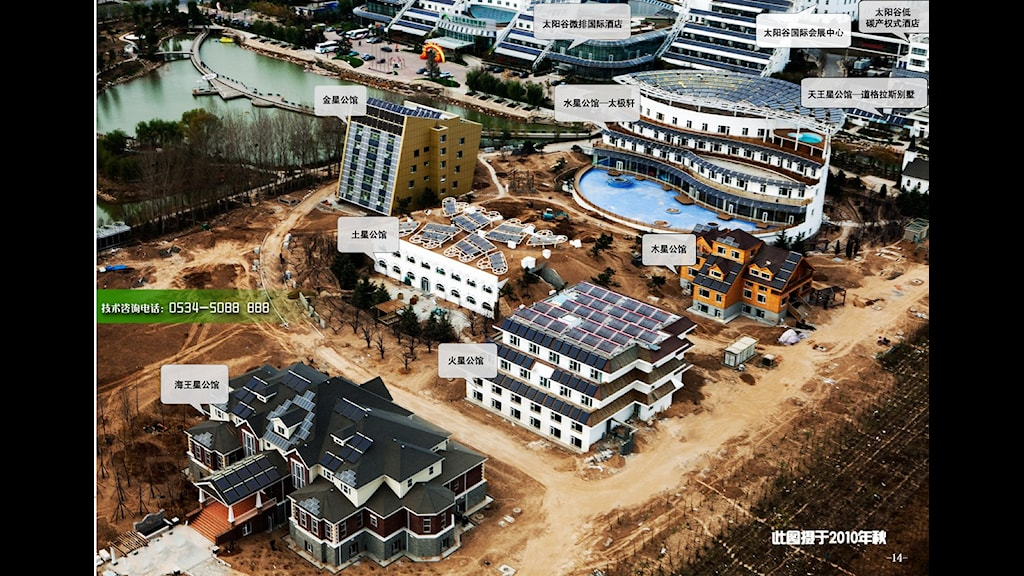 "Solenergidrivna hus i Huang Mings mångmiljardprojekt ""Soldalen"" i Dezhou söder om Peking. Foto: Himin Solar"