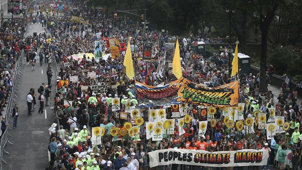 Mer än 310 000 personer demonstrerade i New York för att världens ledare som träffas i FN i veckan ska stoppa den globala uppvärmningen. Foto: John Minchillo CAN-international (CC BY-NC 2.0)