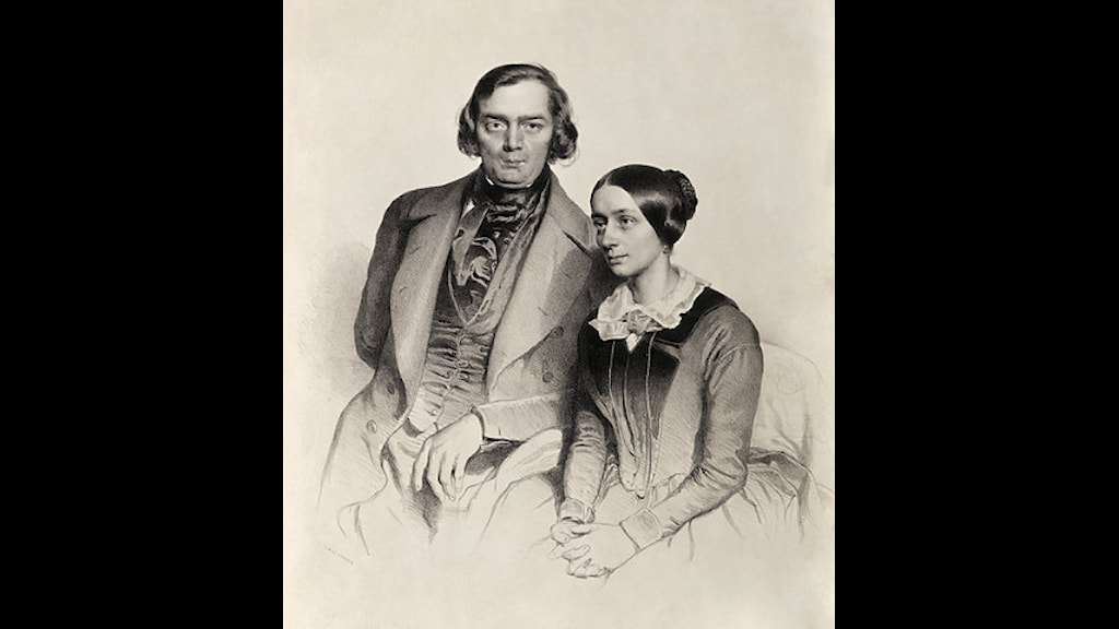 Robert Schumann och hans hustru Clara i Wien 1847. Litografi av Eduard Kaiser