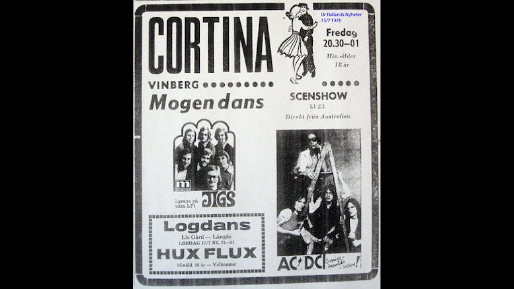 AC/DC-annons ur Hallands Nyheter 15/7 -76