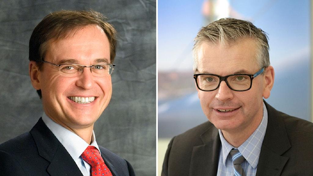 Johan Molin, Vd för Assa Abloy, och Johan Karlström, Vd för Skanska. Foto: Assa Abloy och Skanska.