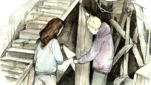 Alex och Saida följer blodiga spår i huset / Alex ja Saida seuraavat verisiä jälkiä mettäkämpälä