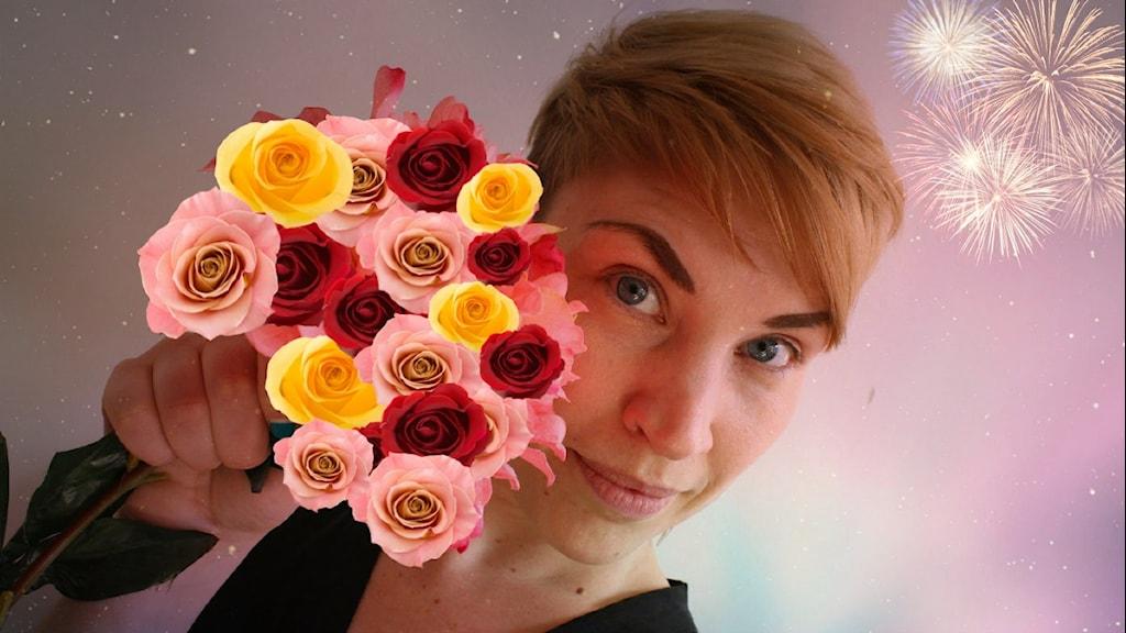 Hanna med blommor. Montage. Hanna Schedin. Foto: Stephanie Londéz/SR