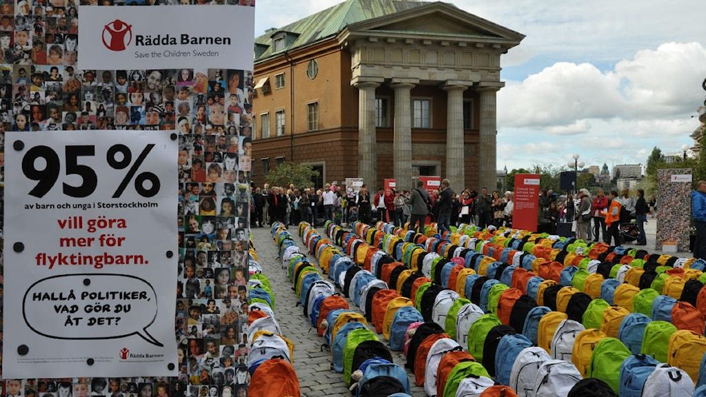 Demonstration till stöd för ensamkommande flyktingbarn. Foto: Rädda Barnen/Scanpix.