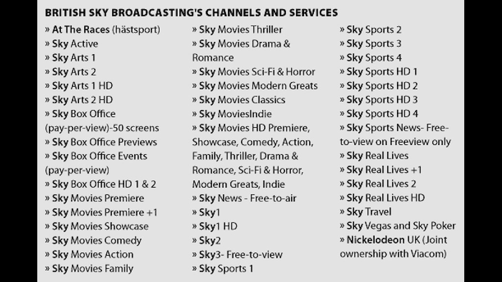 A list of Murdoch's British Sky Broadcasting's channels and services