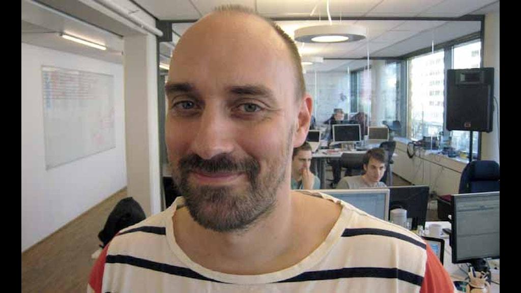 Anders Graffman utvecklar appar för mobiler. Foto: Per Gustafsson.