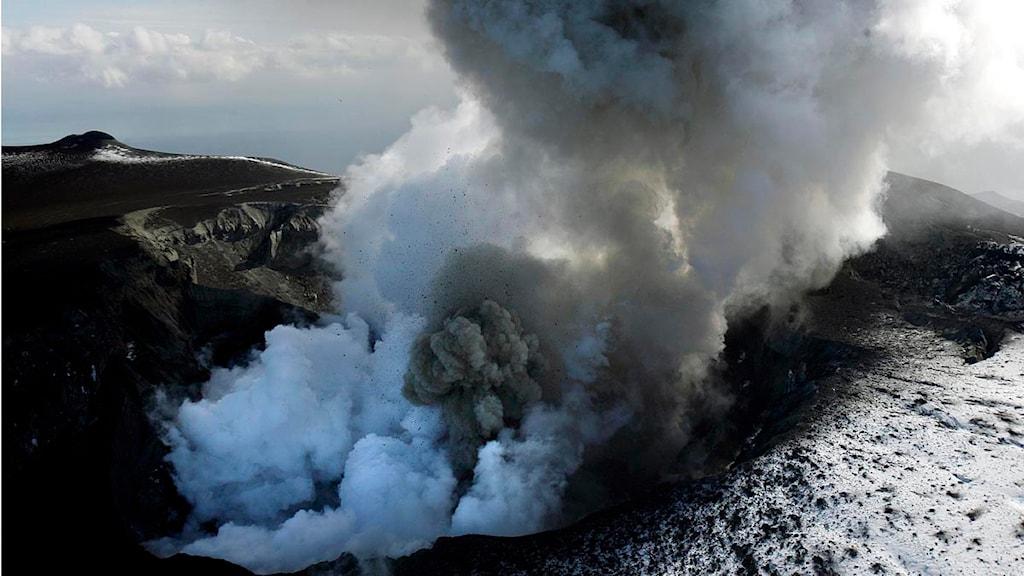 Vulkanutbrottet under glaciären Eyjafjallajökull. Foto: Brynjar Gauti/AP Photo