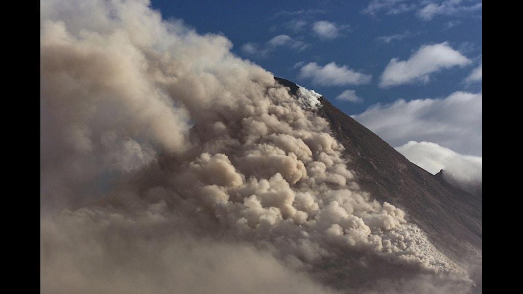 Vulkanen Merapi i Indonesien vid ett utbrott 2006. Foto: Scanpix.