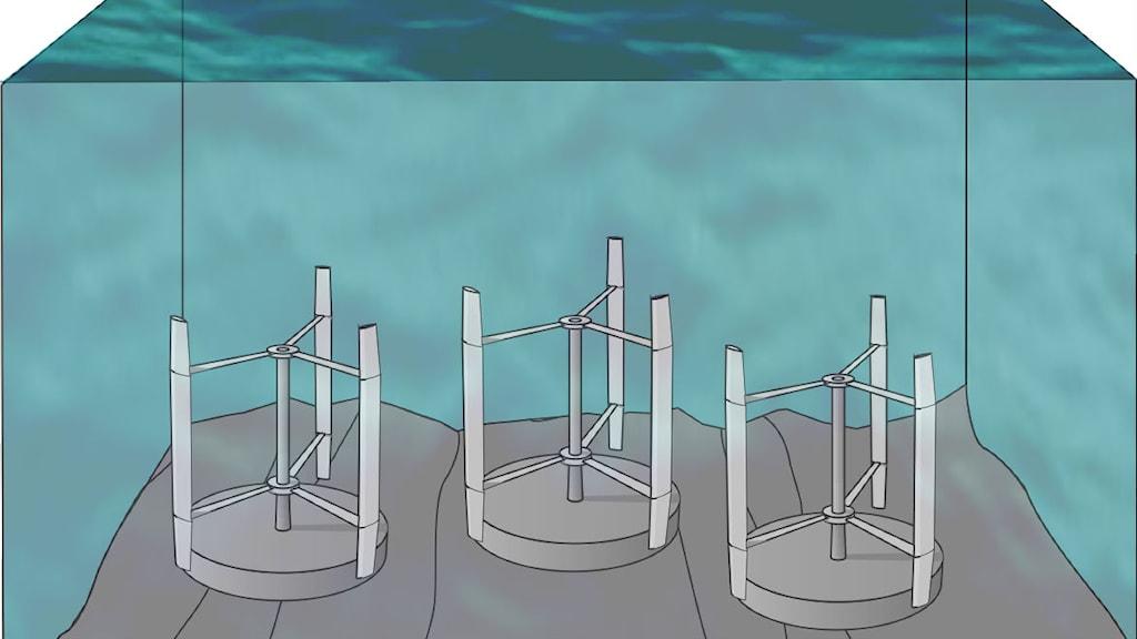 Strömkraftsgeneratorer på botten illustration: Karin Thomas UU
