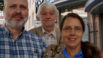 Vetandets världs programledare Johan Thorstensson, Per Gustafsson och Camilla Widebeck. Foto: Charlotte Delaryd/Sveriges Radio