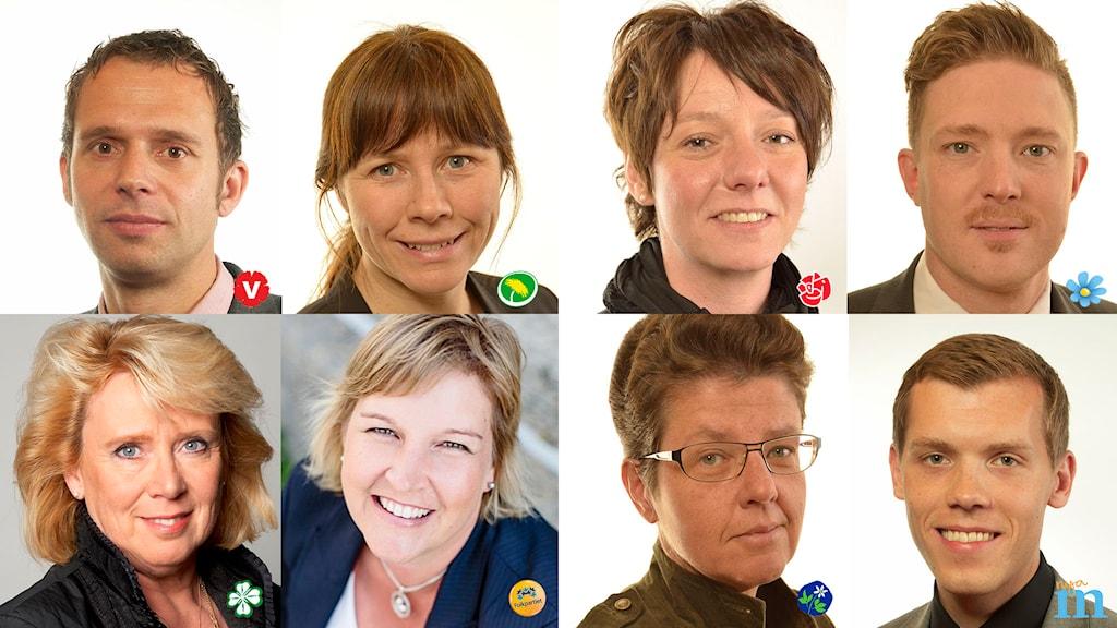 Bildtext: Vetenskapsradion Klotet har frågat riksdagspartierna hur de vill klimatanpassa Sverige efter valet. Medverkande: Jens Holm (V), Åsa Romson (MP), Matilda Ernkrans (S), Josef Fransson (SD), Lena Ek (C), Karin Karlsbro (FP), Irene Oskarsson (KD), Johan Hultberg (M). Foto: Sveriges Riksdag, Johan Ödmann, Jenny Öhman