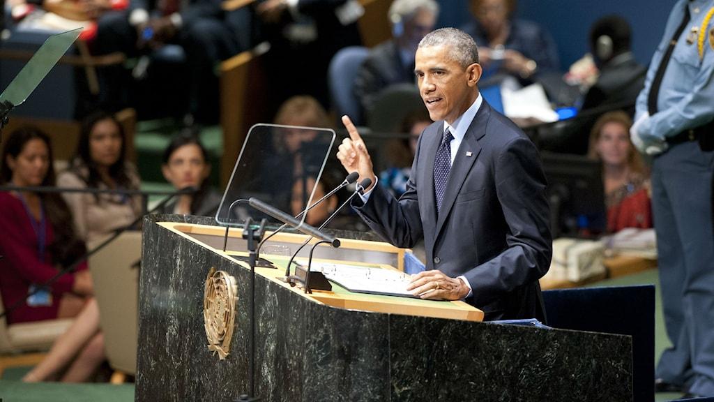 USA:s president Barack Obama talar på FN:s klimattoppmöte i New York. Foto: UN Photo/Kim Haughton