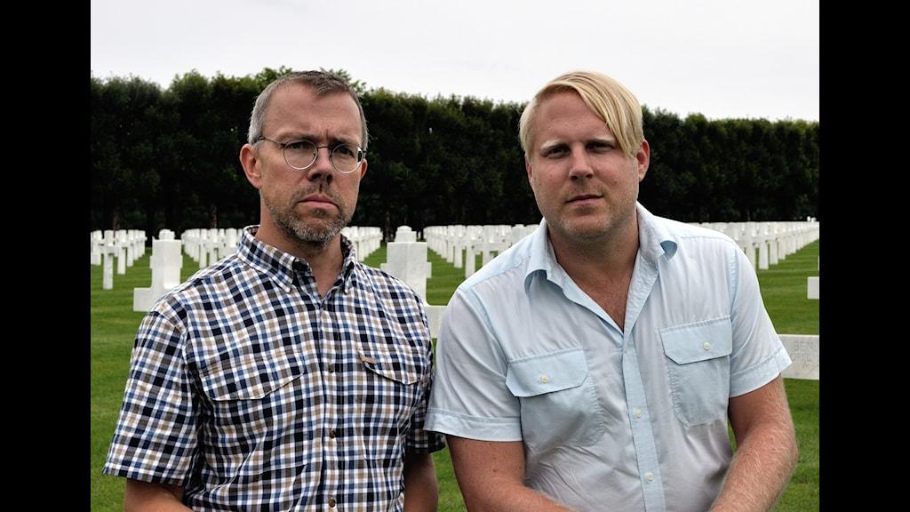 Nils Fabiansson och Tobias Svanelid besöker den amerikanska krigskyrkogården i Romagne. Foto: Nils Fabiansson