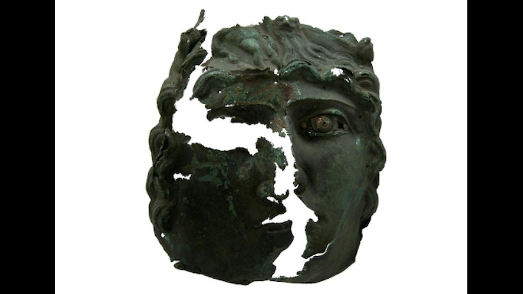 Romersk ryttarmask funnen i socken Hellvi på nordöstra Gotland. Foto: Per Widerström/Gotlands museum.