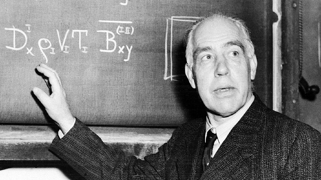 Niels Bohr diskuterar ekvationer på Princeton anno 1950. Foto: Alan Richard/TT