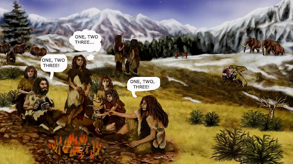 En artists tolkning av en neandertalare meet-up. Bild: Nasa/Institutet
