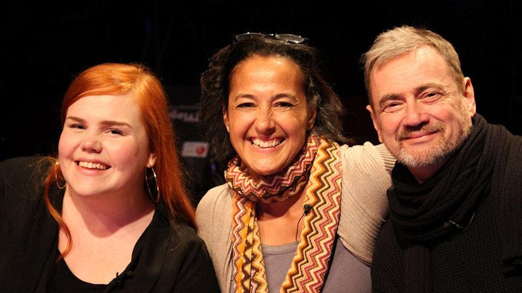 Linnéa Wikblad, Tine Matulessy och Christer Björkman sitter i juryn på Lilla Melodifestivalens audition 2014. Foto: Stina Ericsson/Sveriges Radio