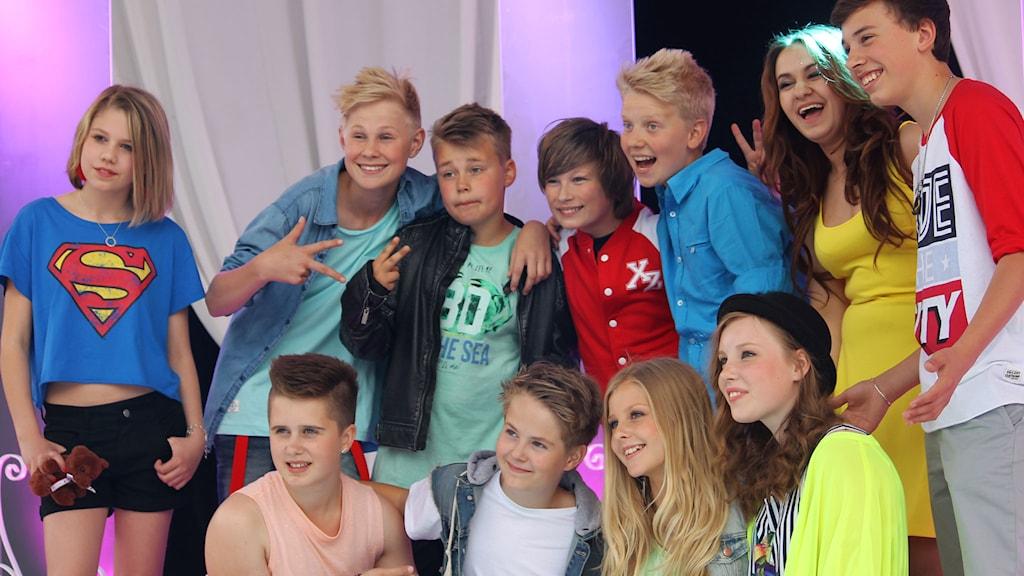 Alla finalister på Gröna Lunds stora scen. Foto: Stina Ericsson/Sveriges Radio
