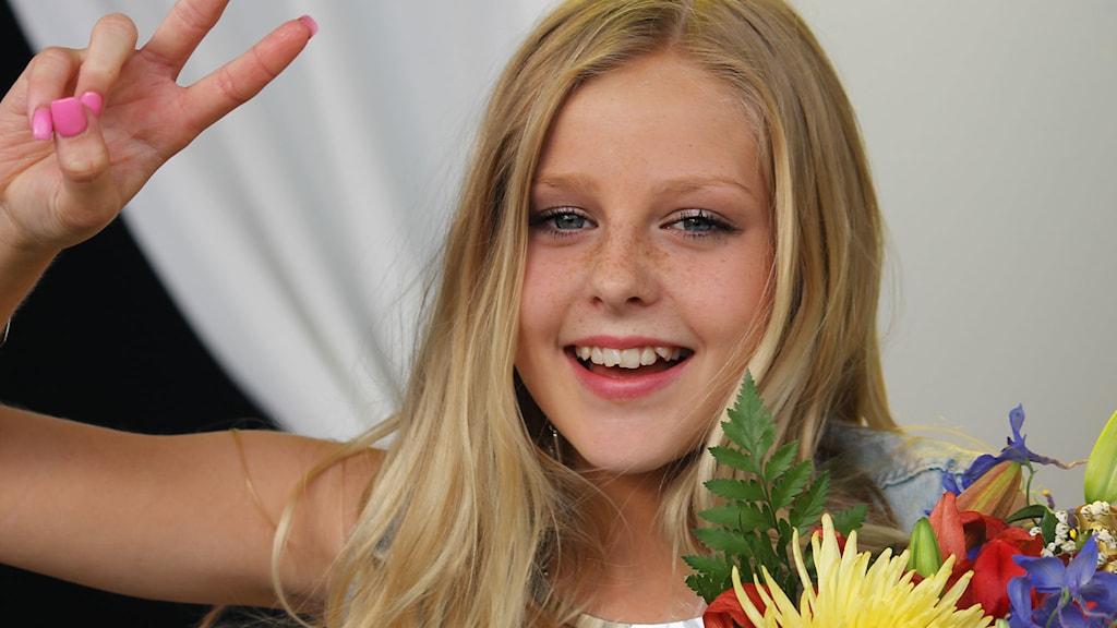 Julia Kedhammar vann Lilla Melodifestivalen 2014. Foto: Stina Ericsson/Sveriges Radio